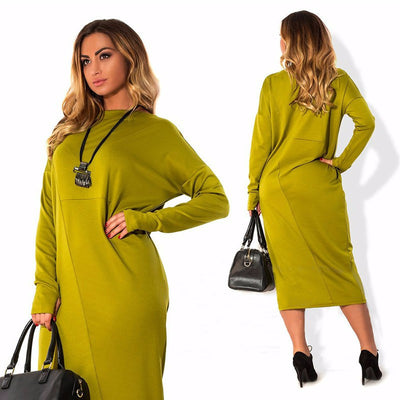 Women Autumn Dress Solid O-Neck Full Sleeve Big Size L-6XL Loose Casual Dress Elegant Office Loose Work Wear Plus Size GV398