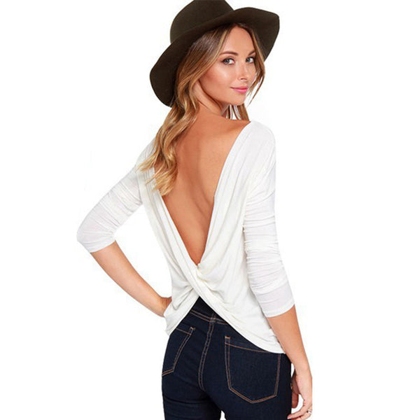 Online discount shop Australia - Cross Backless Long sleeved  Women Tops Casual Large size Camiseta White/Black/Gray poleras de