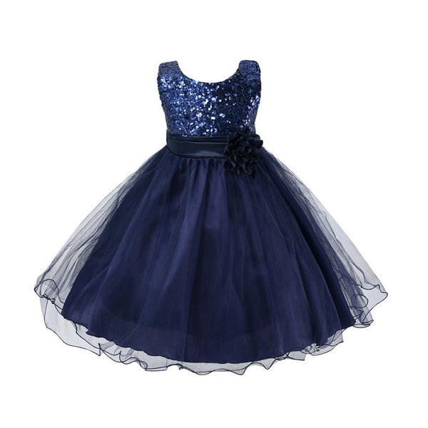 ceb5994c85 Princess Girl O-neck Sleeveless Sequined Floral Ball Gown Party Dresses One  Piece Daily Dress