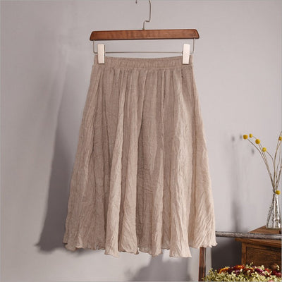 Online discount shop Australia - Fashion Brand Women High quality Linen Cotton Breathable Bilayer structure Pleated Vintage Short Skirts