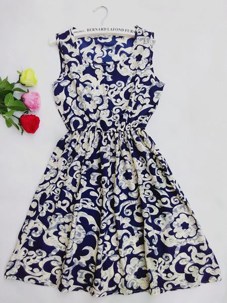 Women casual Navy Blue floral leopard sleeveless vest printed beach chiffon Stars dress vestidos nz18