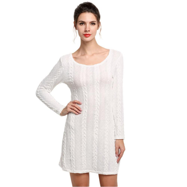 Women Casual Winter Autumn Dress Ladies Long Sleeve Crewneck Jumper Slim Casual Knitted Sweater Mini Dress