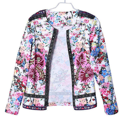 Fashion Women Jackets Floral Printed Slim Short Jacket Long Sleeve Outwear female