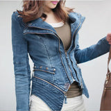Online discount shop Australia - New  S-XXL fashion Star jeans women Punk spike studded shrug shoulder Denim cropped vintage style jacket coat