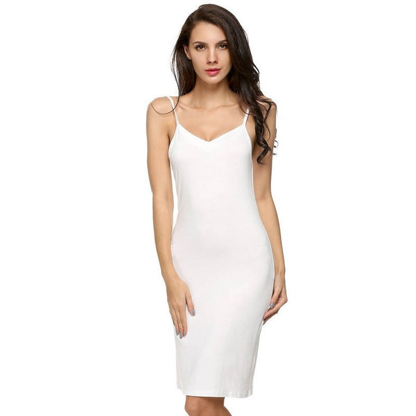 Online discount shop Australia - Modal Long Slip Solid Spaghetti Strap Sleeveless Knee Length Bottoming Soft Womens Slips Plus Size Underwear XXL 20