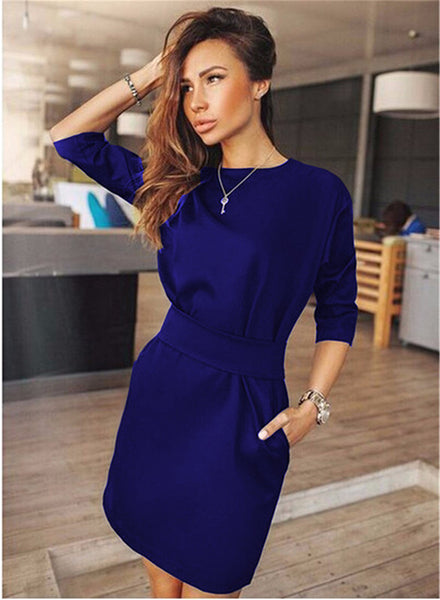 Online discount shop Australia - Autumn Women Casual Mini Dress Fall Three Quarter Sleeve Black Blue Red Mini Dresses Plus Size Ukraine Clothing