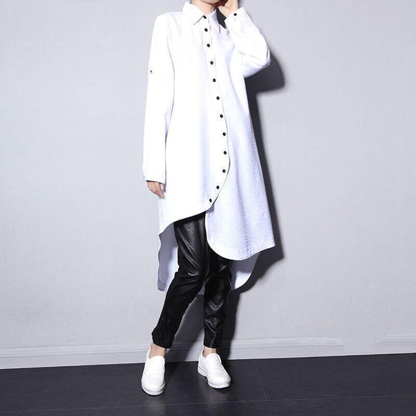 Online discount shop Australia - asymmetric hem chiffon shirt dress thick women long-sleeved white black big size LH911