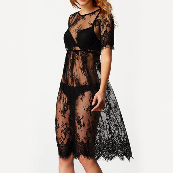Summer Style Women Lace Dress Casual Long Black Short Sleeve O Neck See Through Loose Beach Wear Maxi Dresses