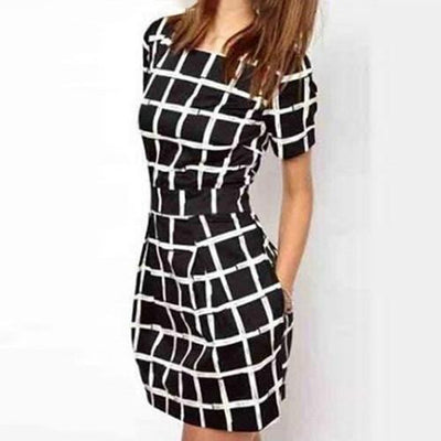 Women Short Sleeve Plaid Slim Bodycon Casual Pencil Black Mini Dress