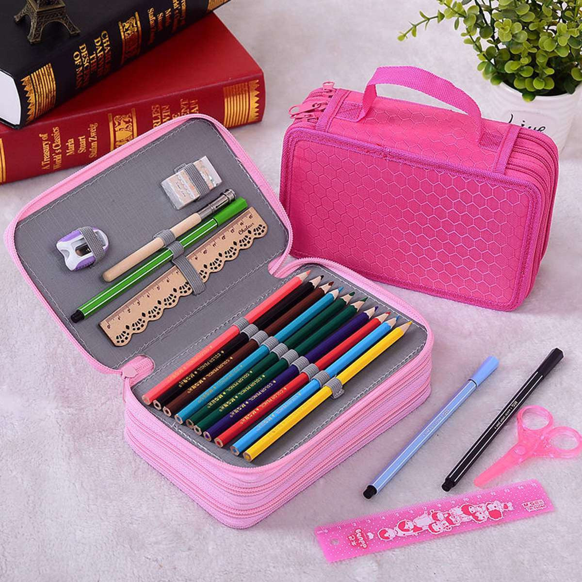 Pouch Professional Painting Pen Box Multifunction Pencil Case Travel Cosmetic Brush Makeup Storage Bagsrose reda
