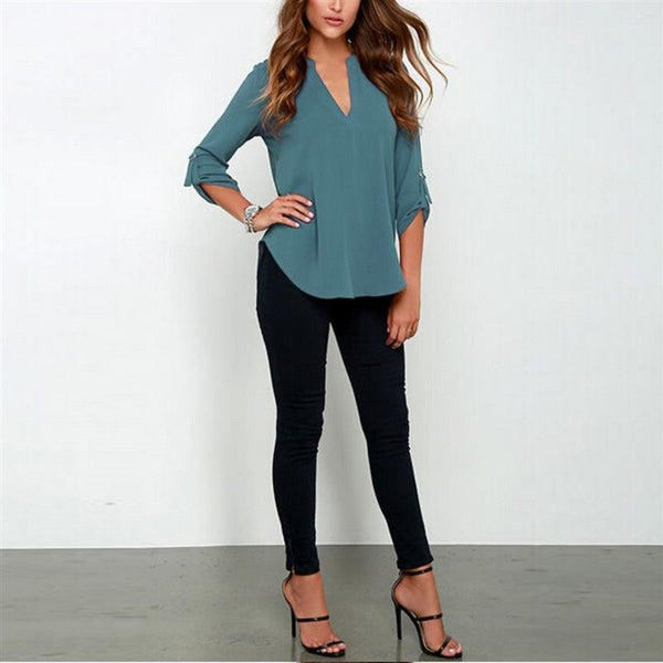 Women V Neck Chiffon Blouse Tops Fashion OL Style Fold Long Sleeve Casual Gray Blouses Plus Size Shirt