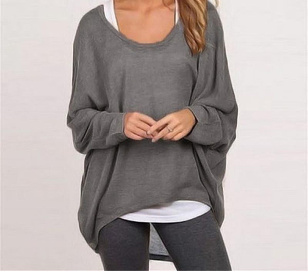Women Blouse New Fashion Long Sleeve Casual Loose Solid Color Black Gray Shirt Plus Size Sexy Tops