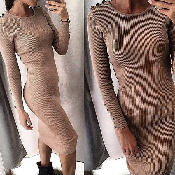 Warm Knitted Midi Dress Women Sexy Solid Long Sleeve Package Hip Bodycon Dress