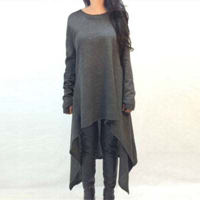 Online discount shop Australia - Autumn Winter Knitted Women Dress Casual Long Sleeve Party Dresses Irregular Hem Maxi Sweater Dress Plus size Vestidos
