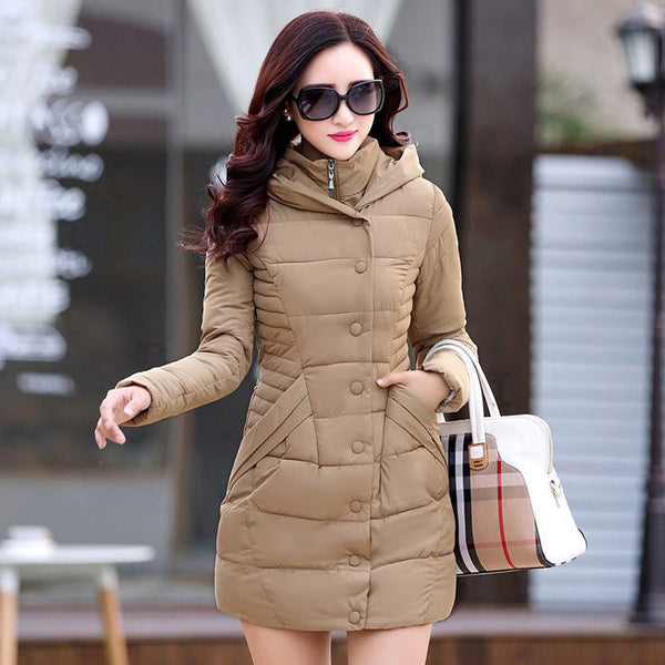 Coat Women Long Style Jacket Fashion Casual Coat Warm Parka Down & Parkas Plus Size