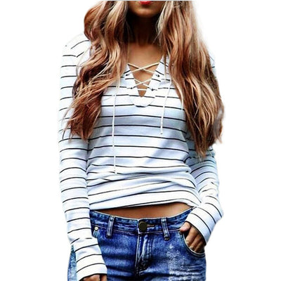 Online discount shop Australia - Fashion Sexy Lace Up T Shirts Women Striped Long Sleeve Casual V Neck Bandage tee shirt  y tops New