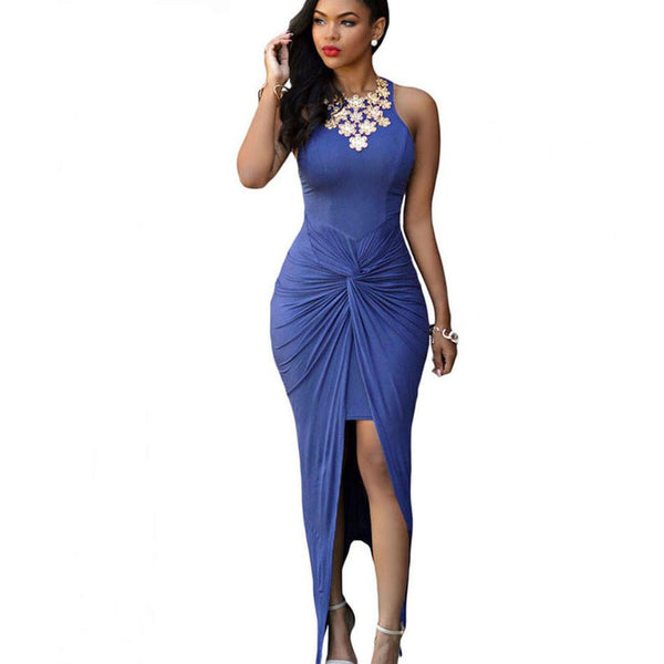 Women Summer Bodycon maxi dress Front Knot Sexy Long Club dress Sleeveless Vortex Fold High Split Party dress