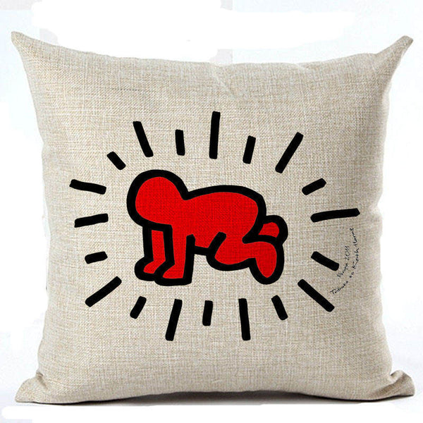 Online discount shop Australia - Graffiti Style Cushion Cover Keith Haring Throw Pillow Sofa Abstract Decorative Cushion Cover Euro Throw Pillow Cover Pencil Man