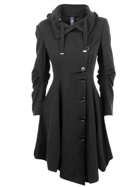 Online discount shop Australia - Clocolor Asymmetric Black Coat Stand Collar Long Sleeve Women Overcoat Elegant Single-Breasted Slim Fall women coat