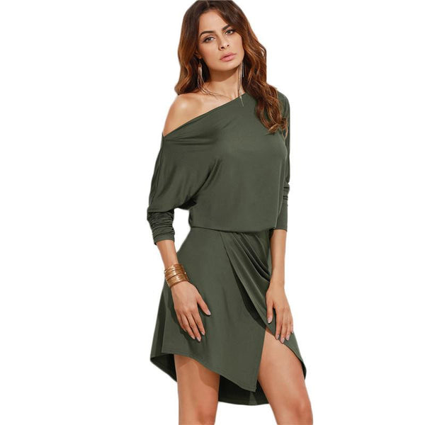 SheIn Army Green Women Autumn Party Dresses Long Sleeve Ladies Sexy Club Dress Off Shoulder Asymmetric Overlap Dress