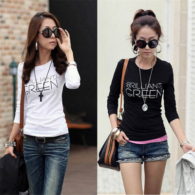 Online discount shop Australia - Korean  harajuku t shirt women Crew Neck Polyester slim tshirts Long Sleeve Bottoming Shirt Tops Tees Clothing Plus size