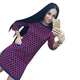 Online discount shop Australia - Elegant Women Autumn Dress Vintage Cross Plaid Print neck 3/4 Long Sleeve Party Dresses Casual Straight Loose Dress Yo