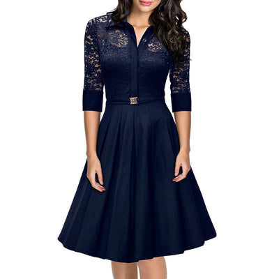 Women Lace Rockabilly Dress Vintage Evening Party Autumn Dress 1950s Turn Down Collar Elegant Black Dresses