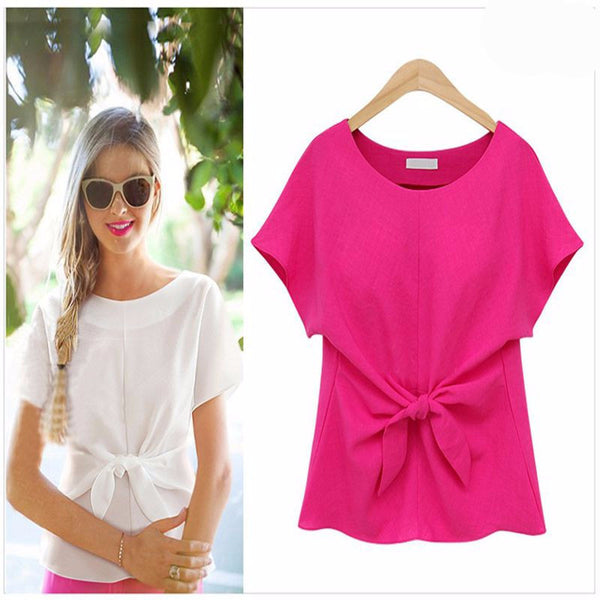Online discount shop Australia - Fashion Women Blouses Bowknot O-neck Short Sleeve Chiffon Blouse Casual Vintage Tops Shirt Women Plus Size