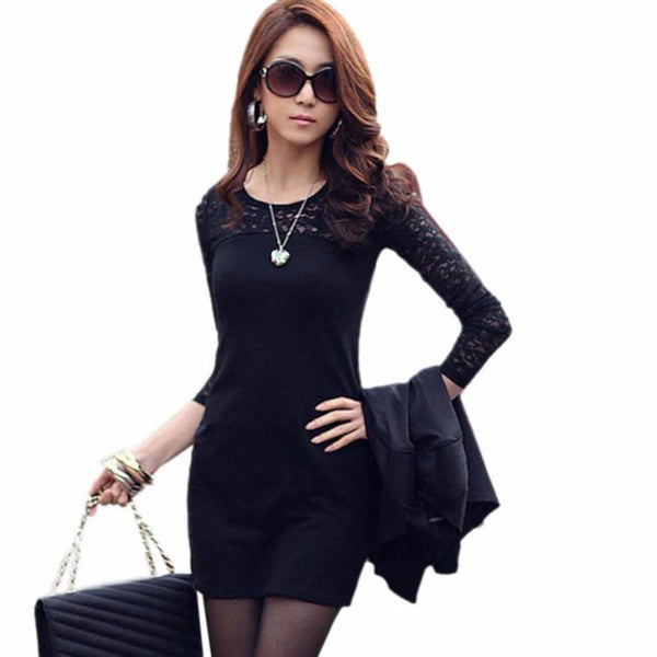 Women Lace Splice Bodycon Slim Skinny Long Sleeve Office Lady Mini Dress robe longue femme