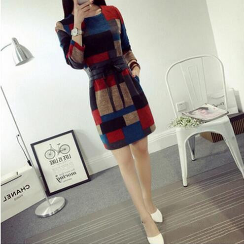 Online discount shop Australia - Dresses Plus Size Fashion Retro Casual O-Neck Pocket Long Sleeve Vintage Slim Bandage Dress