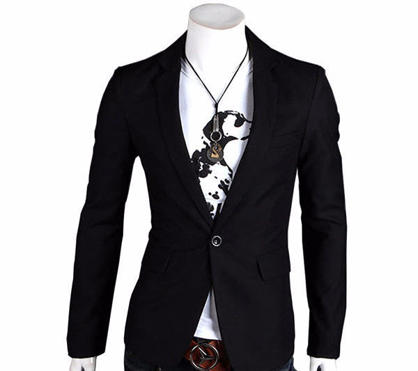 New Stylish Men's Casual Slim Fit One Button Suit Pop Blazer Black Coat JacketBlackXXXLa