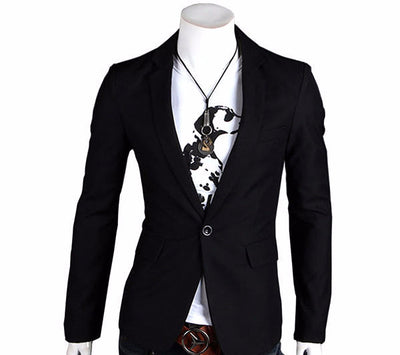 New Stylish Men's Casual Slim Fit One Button Suit Pop Blazer Black Coat Jacket