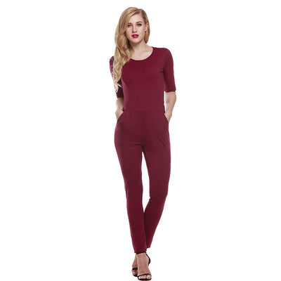 Casual Fashion O-Neck Sexy Rompers Womens backless Jumpsuit for Women one pieces jumpsuit purple