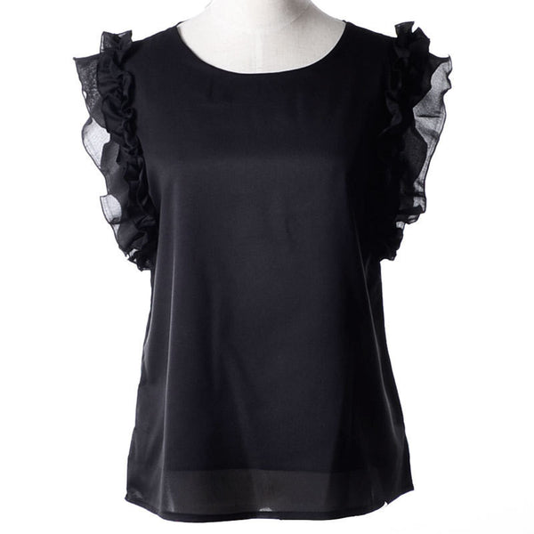 Online discount shop Australia - Fashion  Bow Solid O-neck Sleeveless Women Blouses With Chiffon X37