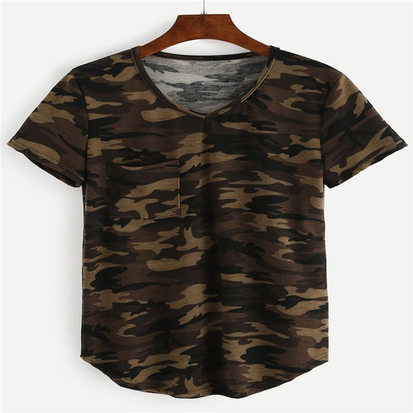 Tops Tees Ladies Short T Shirt women Camouflage Print Cotton Female Shirts Loose Woman Clothes