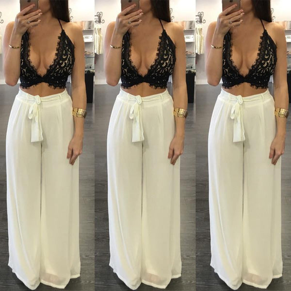 Sexy Deep V neck Women Jumpsuit Two Pieces Set Lace Backless Crop Top Long Loose Pants Beach Party Bodycon Playsuit