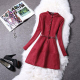 Women Dress Long Sleeve Suede New Spring Elegant Casual Bodycon Prom Party Dress Slim Vestidos