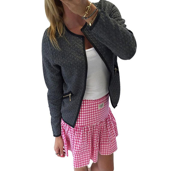 women jacket plaid print coat open stitch casual tops solid female short outwear fashion o neck