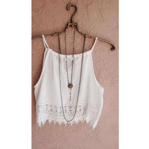Online discount shop Australia - Fashion New Lace Tops Sleeveless Casual Tops Tee T-Shirt S- XL