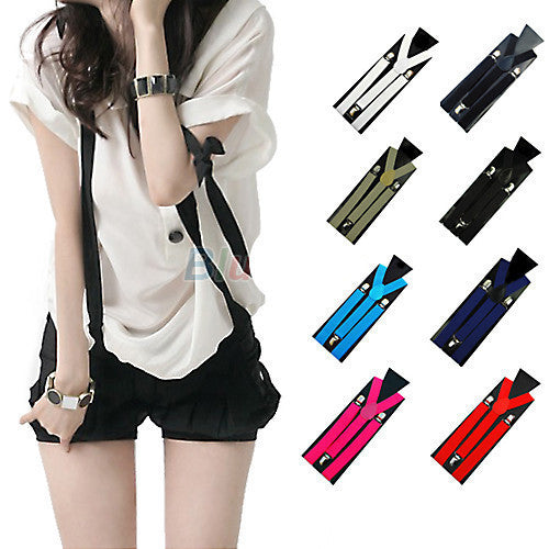 Online discount shop Australia - 1PC New Mens Womens Unisex Clip-on Suspenders Elastic Y-Shape Adjustable Braces 00MK