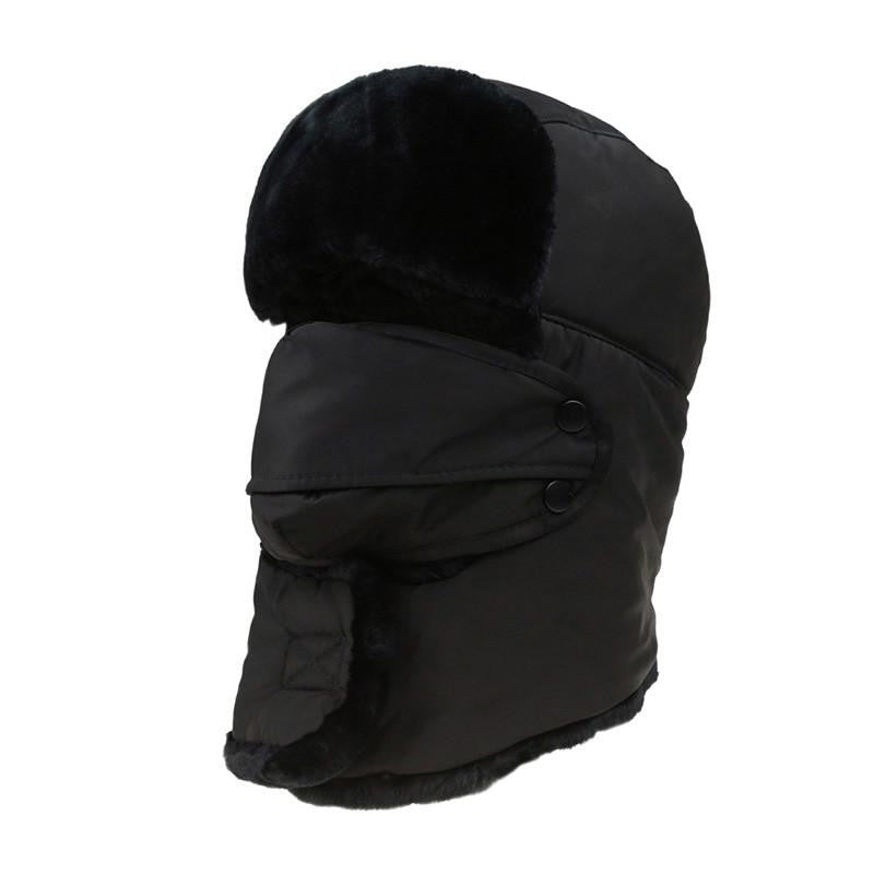 Women's or Mens Fur Bomber Hats Hat Outdoor Warm Thicker Caps with Ear Flaps and Mask Z-3877Blacka