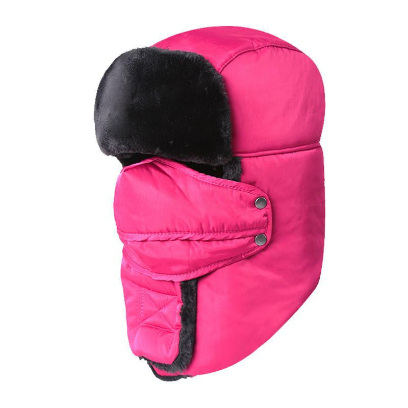 Women's or Mens Fur Bomber Hats Hat Outdoor Warm Thicker Caps with Ear Flaps and Mask Z-3877Rosea