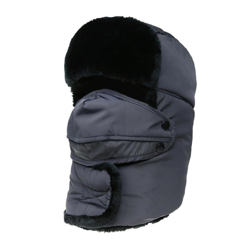 Women's or Mens Fur Bomber Hats Hat Outdoor Warm Thicker Caps with Ear Flaps and Mask Z-3877Graya