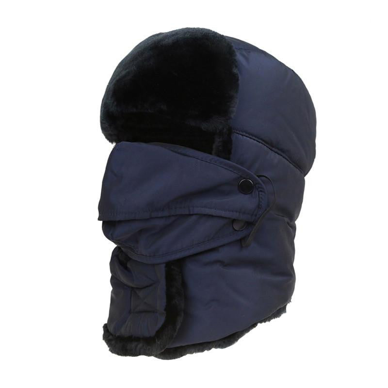Women's or Mens Fur Bomber Hats Hat Outdoor Warm Thicker Caps with Ear Flaps and Mask Z-3877Dark Bluea