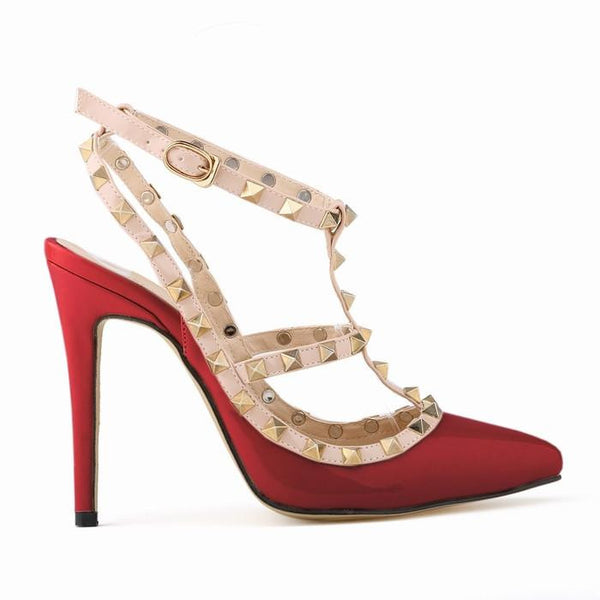 Women fashion sexy personality hollow rivets stitching fine with high-heeled shoes Wedding 302-5PA