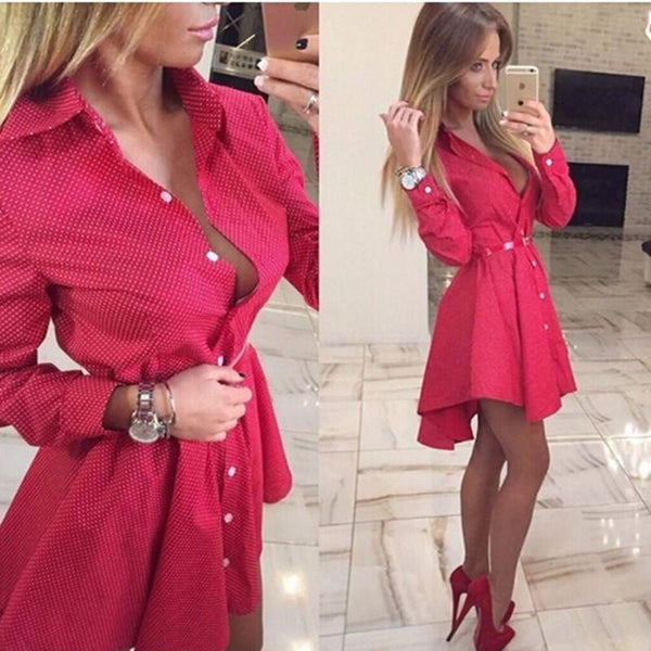 Sexy Women Casual Shirt Dress Fall Bodycon Long Sleeve Mini Party Dresses Brazil Vestidos