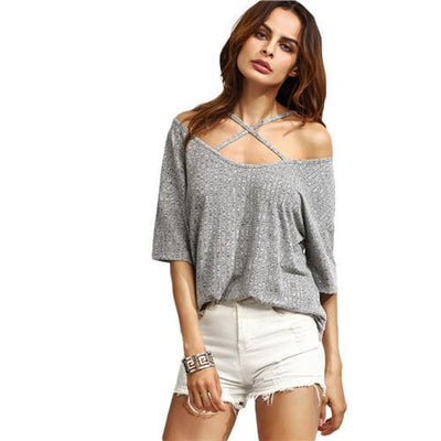 Womens Casual Tees T shirt Tops Ladies Grey Ribbed Crisscross Front Half Sleeve Cold Shoulder T-shirt