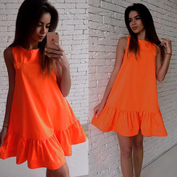 Summer Women Fashion Mini Dress Sleeveless A line Sleeveless Ruffles Party Dress Robe Longue Femme LJ4534S