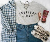 VIBES Letters Print Women  Casual Cotton Hipster Shirt For Lady Funny Top Tee White Gray Black B-109