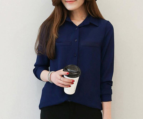 b92494ad4913f Women Blouse New Casual Women s Long Sleeved Solid Shirt Plus Size Blouses  Ladies Office OL Style